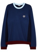 Kenzo Blue Tiger-embroidered Wool Blend Jumper