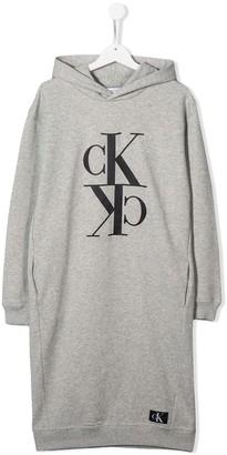 Calvin Klein Jeans TEEN hooded logo sweatshirt dress