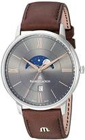 Maurice Lacroix Men's 'Eliros' Quartz Stainless Steel and Leather Casual Watch, Color:Brown (Model: EL1108-SS001-311-1)