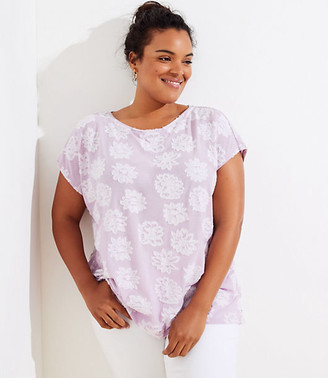 LOFT Plus Flower Jacquard Ruffle Crossover Back Tee