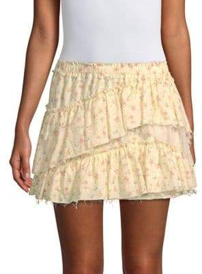 LoveShackFancy Genevieve Tiered Floral Mini Skirt