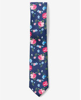 Express floral slim cotton tie