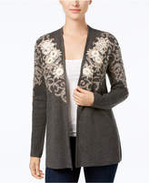 Charter Club Petite Floral Jacquard Cardigan, Created for Macy's