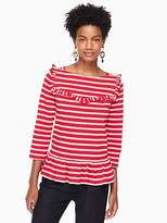 Kate Spade Ruffle yoke stripe knit top