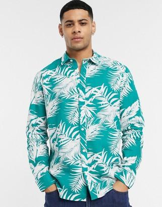 Esprit palm leaf shirt in green