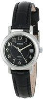 """Timex Women's T2N335 """"Elevated Classics"""" Black Leather Strap Watch"""