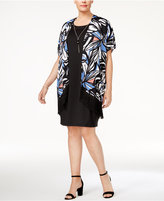 NY Collection Plus Size Fringe Jacket and Sheath Dress Set