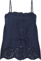 Mes Demoiselles Cute Broderie Anglaise-trimmed Cotton-poplin Top - Navy