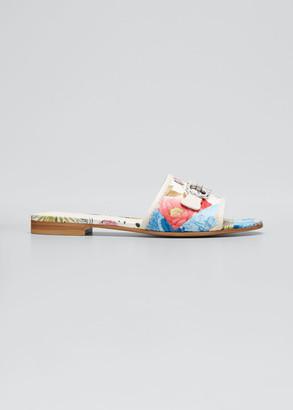 Salvatore Ferragamo Rhode Printed Gancini Summer Slide Sandals