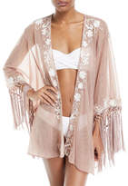 Flora Bella Azmara Open-Front Embroidered Mesh Kimono Coverup, One Size