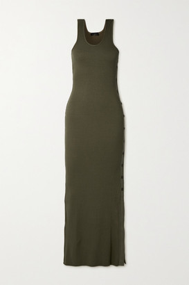 The Range Alloy Ribbed Stretch-knit Maxi Dress - Army green