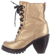 Marc Jacobs Metallic Shearling Ankle Boots