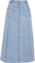 SJYP Steve J & Yoni P - Paneled Denim Midi Skirt - Light denim