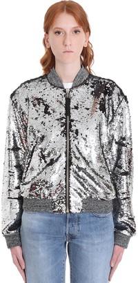 Golden Goose Sierra Bomber In Silver Polyester