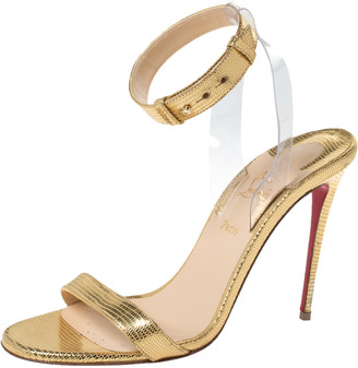 Christian Louboutin Gold Lizard Embossed Leather And PVC Jonatina Sandals Size 37.5