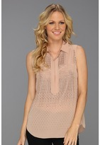 Rebecca Taylor Embellished Sleeveless Top (Nude) - Apparel