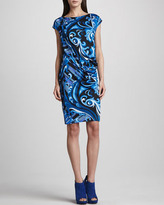 Emilio Pucci Side-Ruched Printed Cap-Sleeve Dress, Blue