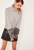 Missguided Grey Fur Cuff Turtleneck Sweater