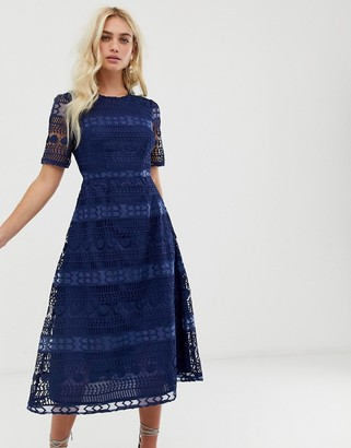 Asos Design DESIGN premium lace midi dress-Navy