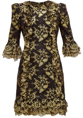 The Vampire's Wife Cate Metallic Fil Coupe Silk And Lace Mini Dress - Womens - Black Gold