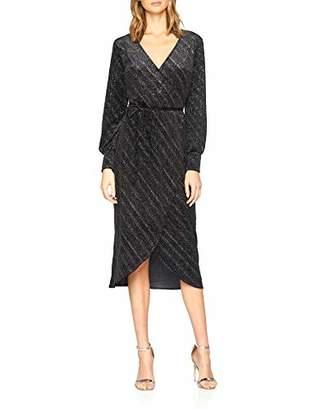 Warehouse Women's Glitter Velvet Wrap Midi Plain Long Sleeve Party Dress,8 (Manufacturer Size:8)