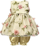 Jayne Copeland Ivory Floral Mesh Dress & Bloomers - Infant & Girls