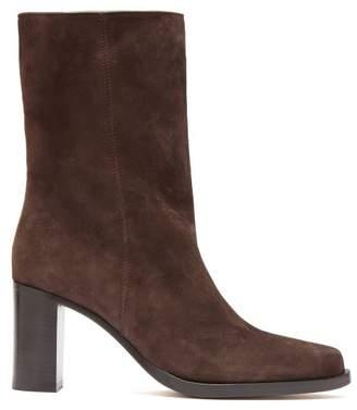 Legres - Stacked-heel Suede Boots - Womens - Dark Brown