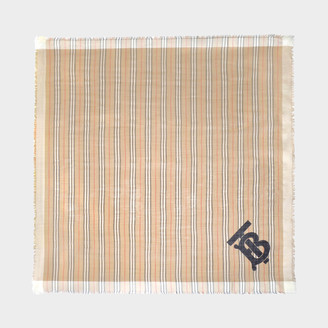 Burberry Tb Heritage Stripe Gauze Square In Archive Beige Wool And Mulberry Silk