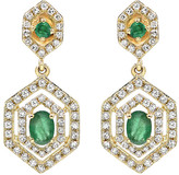Diana M Fine Jewelry 14K 0.76 Ct. Tw. Diamond & Emerald Earrings