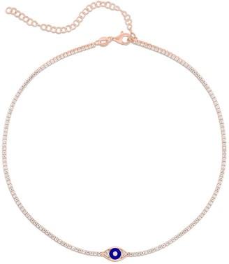 Sphera Milano 14K Rose Gold Plated Sterling Silver CZ Evil Eye Tennis Choker Necklace