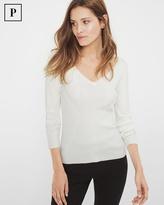 White House Black Market Petite Ribbed V-Neck Sweater