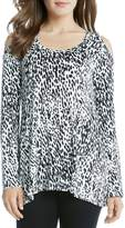 Karen Kane Animal Print Cold Shoulder Top