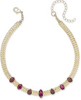 INC International Concepts Gold-Tone Wine Stone Choker Necklace, Only at Macy's