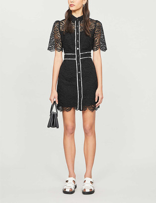 Sandro Livy embroidered-floral lace mini dress