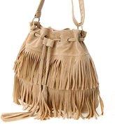 D.jiani® European And American Minimalist Retro Fringed Tassel Drawstring Bucket Bag Shoulder Messenger Handbag