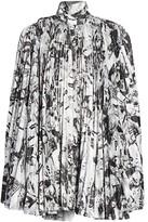 Balenciaga Newspaper Print Pleated Dress