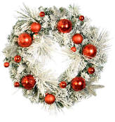 """Vickerman Flocked Pieces Decorated with Red and Silver Ornaments, 24"""", Wreath"""