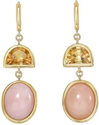 Mocola Two Tier Citrine & Pink Opal Gemstone Drop Earrings