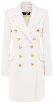 Balmain Double Breasted Wool & Cashmere Coat