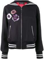 Dolce & Gabbana sequin embellished sailor collar bomber jacket