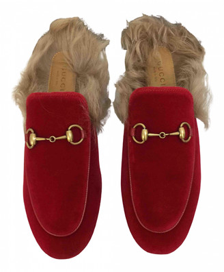 Gucci Princetown Red Velvet Flats