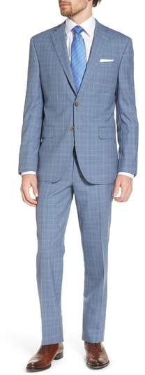 David Donahue Ryan Classic Fit Plaid Wool Suit