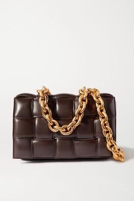 Bottega Veneta Cassette Chain-embellished Padded Intrecciato Leather Shoulder Bag - Dark brown