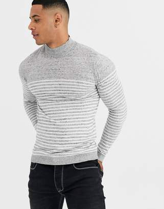 Asos Design DESIGN knitted sweater in breton stripe in white-Gray