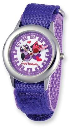 Red Balloon Love Owl Girls' Stainless Steel Time Teacher Watch, Purple Nylon Strap