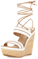Stuart Weitzman Abandon Leather Ankle-Wrap Wedge Sandal, White/Tan