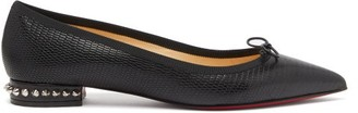 Christian Louboutin Hall Spike-embellished Leather Ballet Flats - Black