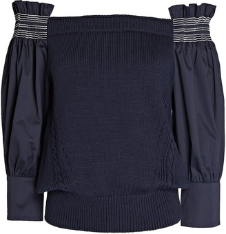 ADEAM Smocked Off-the-Shoulder Sweater
