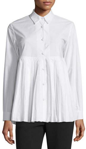 Co Button-Front Plisse-Hem Blouse, White