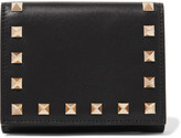 Valentino The Rockstud French Leather Wallet - Black